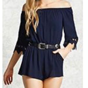 forever 21 • navy crocheted mini romper